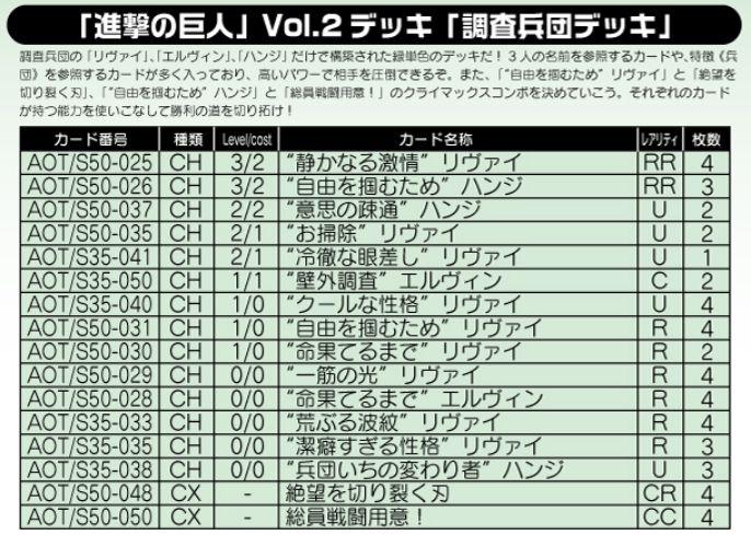 調査兵団デッキ:WS「進撃の巨人 Vol.2」デッキレシピ