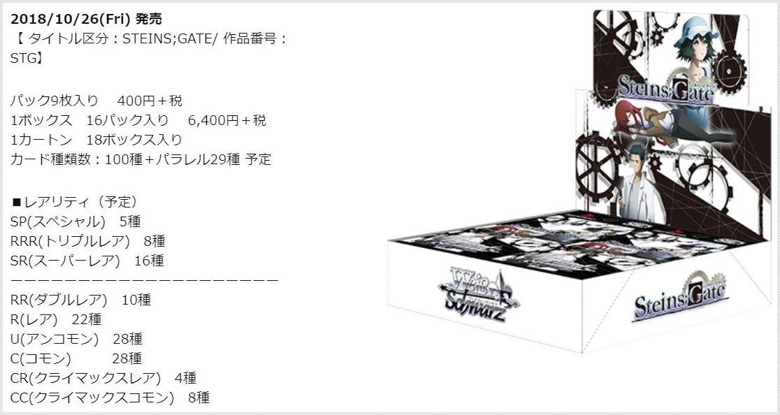 WS ブースターパック シュタインズ・ゲート 公式製品情報画像
