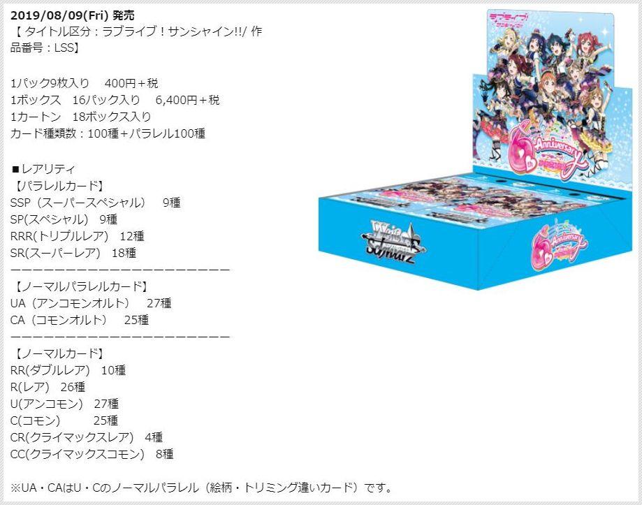 ブースターパック ラブライブ!サンシャイン!! feat.スクールアイドルフェスティバル~6th Anniversary~(ヴァイスシュヴァルツ公式製品ページ)ボックス画像公開