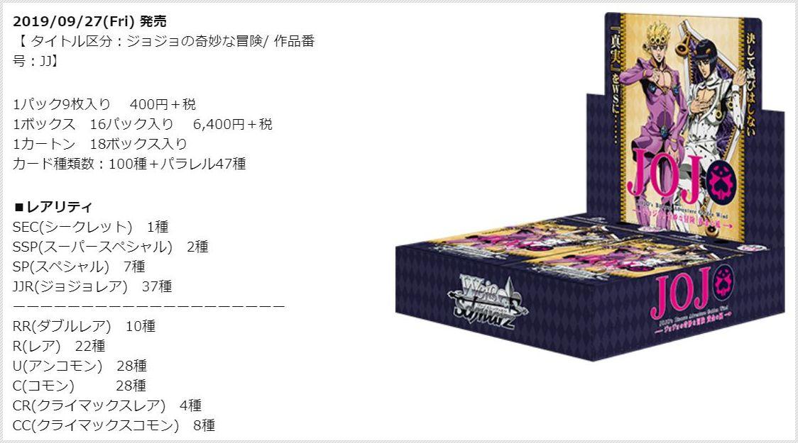 ブースターパック ジョジョの奇妙な冒険 黄金の風(公式ボックス画像&レアリティ情報)