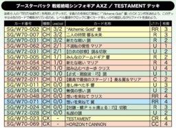 TESTAMENTデッキ:WS「戦姫絶唱シンフォギアAXZ」公式デッキレシピ